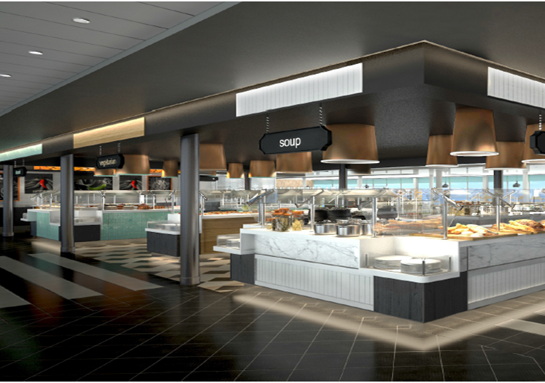 Das Buffetrestaurant Anckelmannsplatz an Bord der neuen Mein Schiff 1 © Bild: TUI Cruises