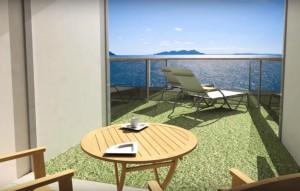 Einzelne Balkonkabinen haben einen eigenen Garten auf der MSC Seaside. © Bild: MSC Cruises